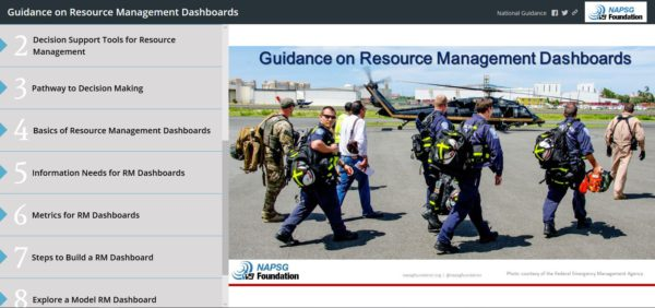 Image of the landing page for the interactive version of the Guidance on Resource Management Dashboards