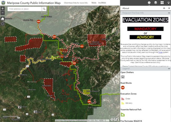 Screenshot of the Mariposa County Public Information Map on August 7th, 2018
