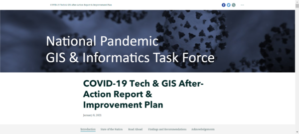 screenshot of COVID-19 Tech & GIS After-Action Report & Improvement Plan